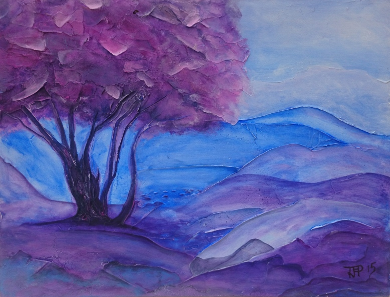 blue landscape with tree