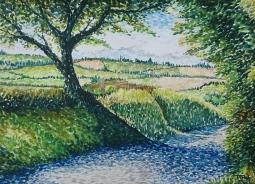 Pointilism landscape