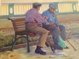 '2 men on bench by Pont a Pé' © Steph Hayman
