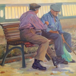 '2 men on bench by Pont a Pé' © Steph Hayman