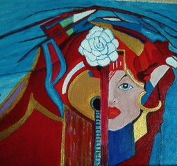 'fado speelster met roos 2014' © Anneke Verschoor Kuipers