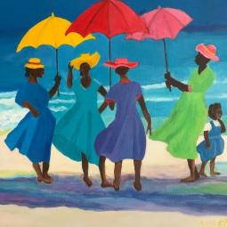 'Inspired by Shari Erikson - Chat on the Beach' © Anneke Verschoor Kuipers