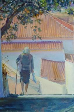 'Lady walking up hill Aljezur' © Steph Hayman