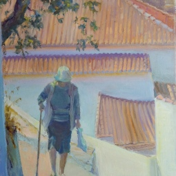 'Lady walking up hill Aljezur' © Steph Hayman