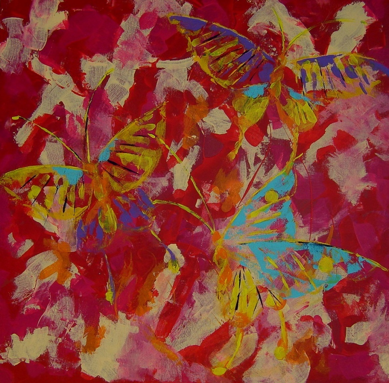 1. Butterflies on red. Acrylic on canvas 70x70