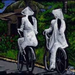 'School girls on bicycles in Vietnam' © Sue Findley