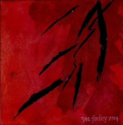 'Black bamboo on red' © Sue Findley