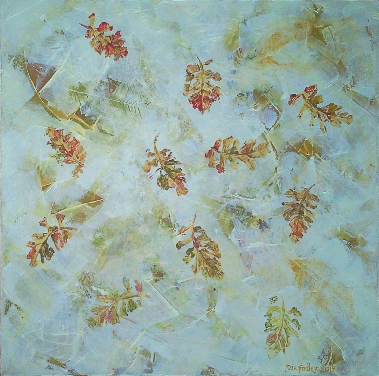 8. Autumn leaves on cream. Acrylic on canvas 50x50
