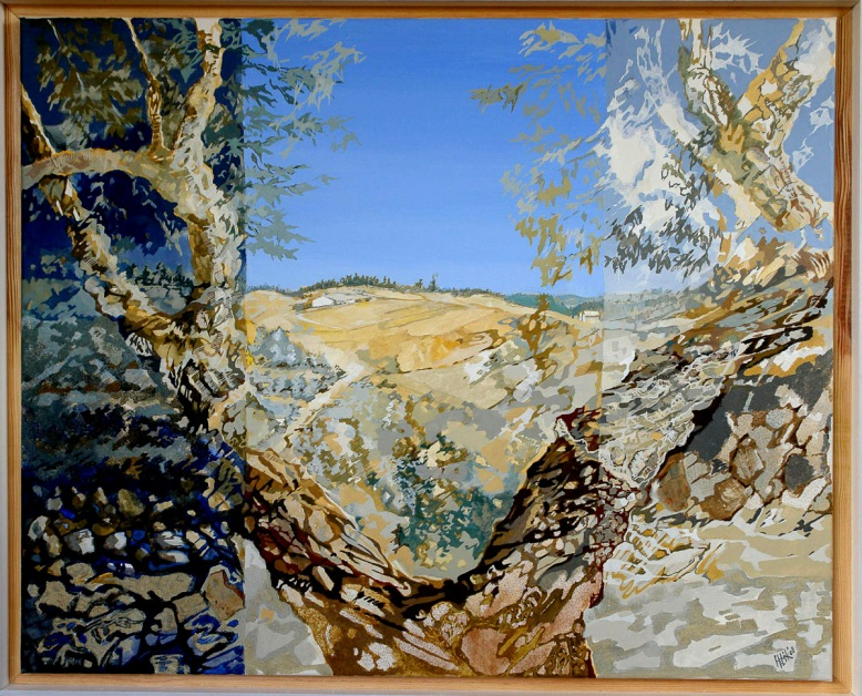 Alentejan Landscape with corkoak - acryl, sand and stones on canvas - 100 x 80 cm
