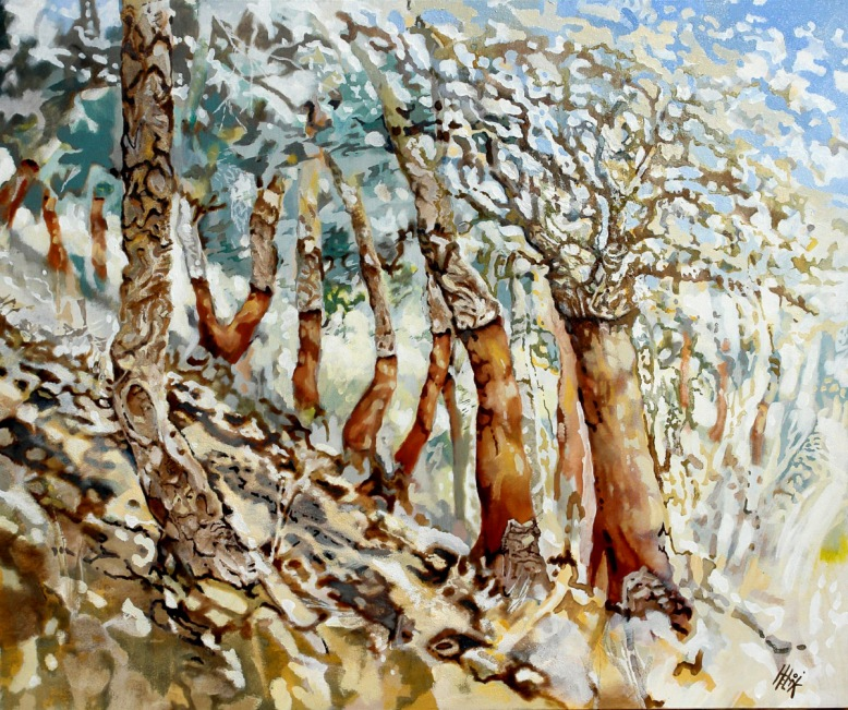 Fresh pealed corkoaks - oil and sand on canvas - 120 x 100 cm