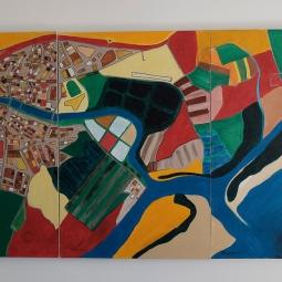 'Tavira Triptych' Acrylic on canvas 90 x 180cm © Andrew Stephens
