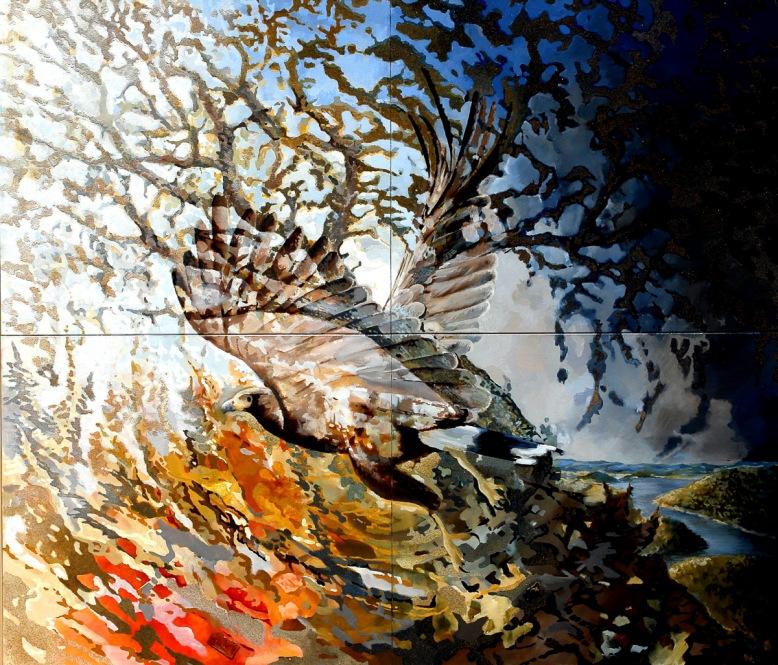 Stoneoak with eagle near the Santa Clara Lake - oil and sand on canvas - 140 x 120 cm