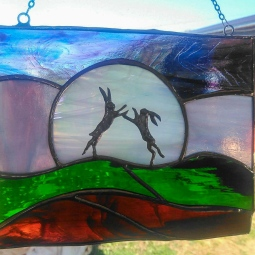 'Boxing hares in the moonlight' © Liza Walker