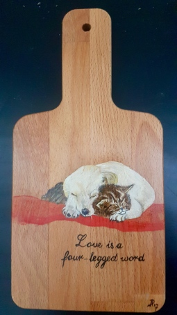 'handpainted dog and cat on snack board' © Free Spirits Artworks