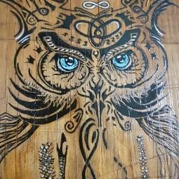 'handpainted owl on choppingboard 2' © Free Spirits Artworks