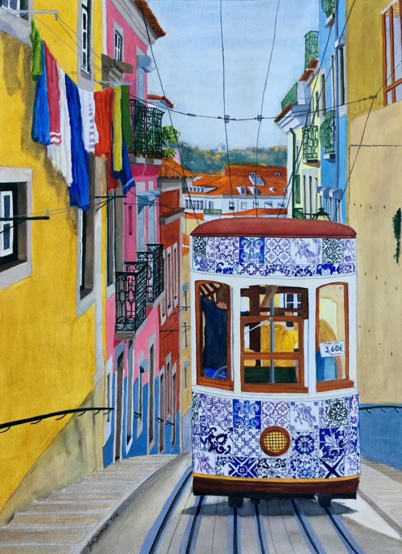 """The Portuguese Tiles Tram - Bica Street, Lisbon, Portugal, 2018 © Inés Dourado"