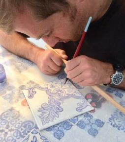 """Close up of Tile being painted"" © Algarve Azulejos Art"