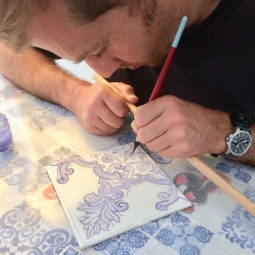 """Close up of Tile being painted"" © Algarve Azulejos Art"