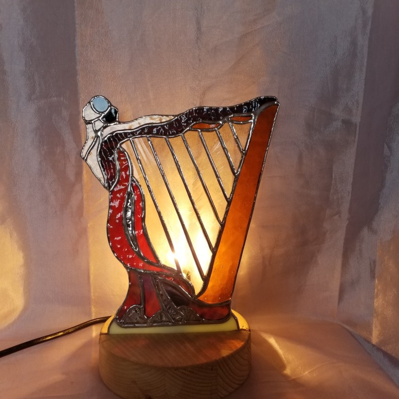 Art deco harp lady lamp