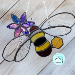 Bumble and flower. designed and made by l. walker the glass house algarve © Liza Walker