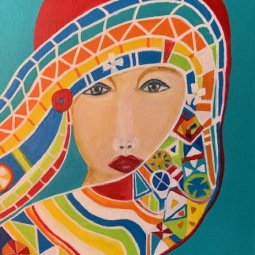 'Colorful scarf' 40x30 cm© Anneke Verschoor Kuipers