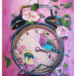 """Tic tok........ Time heals"", acrylic on canvas, 30 x 40cm © Samantha van der Westhuizen/ Tintinter"