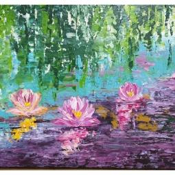 Lilly pond, Palette knife, acrylic on canvas © Samantha van der Westhuizen/ Tintinter