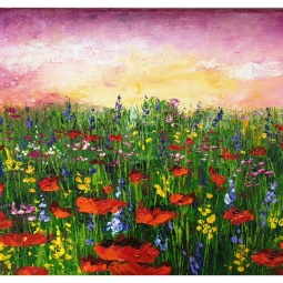 Poppies at Sunset, Palette knife, acrylic on canvas © Samantha van der Westhuizen/ Tintinter