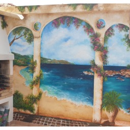 Archway with Seaview and bougainvillea, 3 x 2.8mt, 3 days to complete © Samantha van der Westhuizen