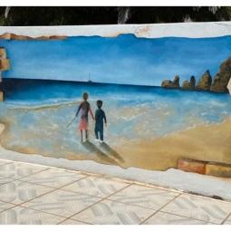 Childrens day at the beach, 2 x 1mt, 1 day to complete © Samantha van der Westhuizen