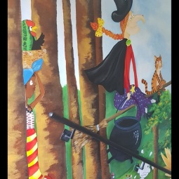 """Children's favourite library characters"" mural 11mt x 6mt, 9 days to complete © Samantha van der Westhuizen"
