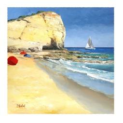 Praia caneiros, oil painting © Corine Thinon