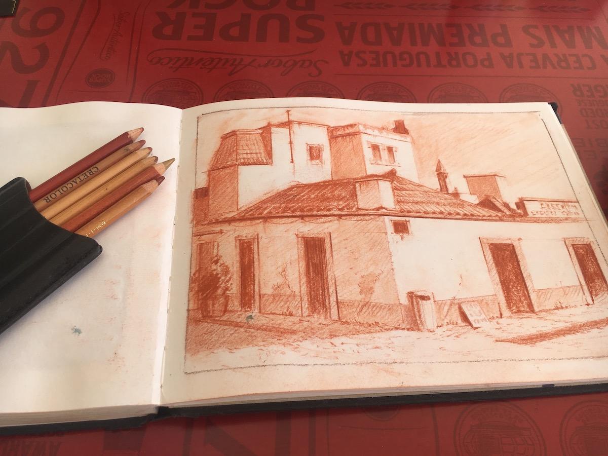 Vila Real do Santo Antonio- Sanguigna Sketch
